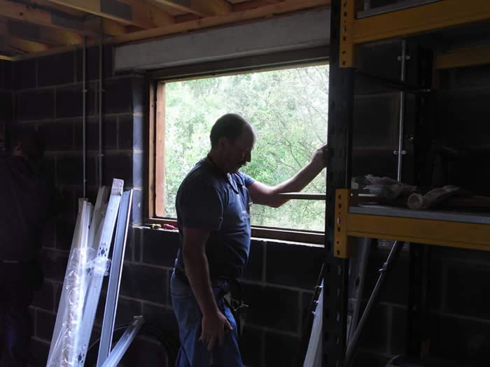 Installing windows in the workshop
