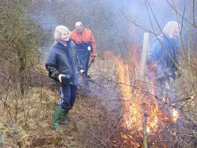 John, Beryl and Emma clearing Silver Birch