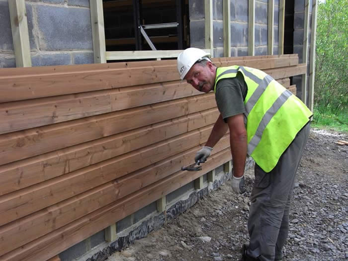 Harry, the carpenter, working on the new workshop