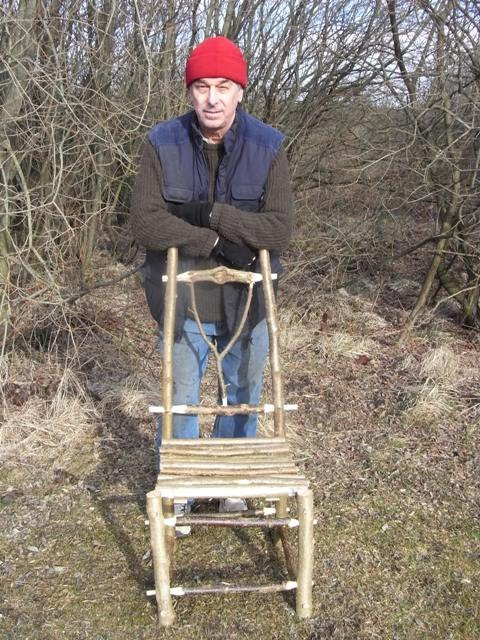 Chris with the chair made from coppiced Hazel