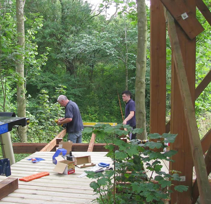 Travor working on the walkway