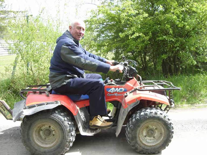 Trevor on the quad bike