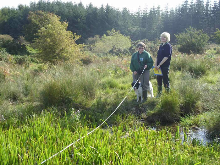 Elizabeth and Emma measuring a moorland pond