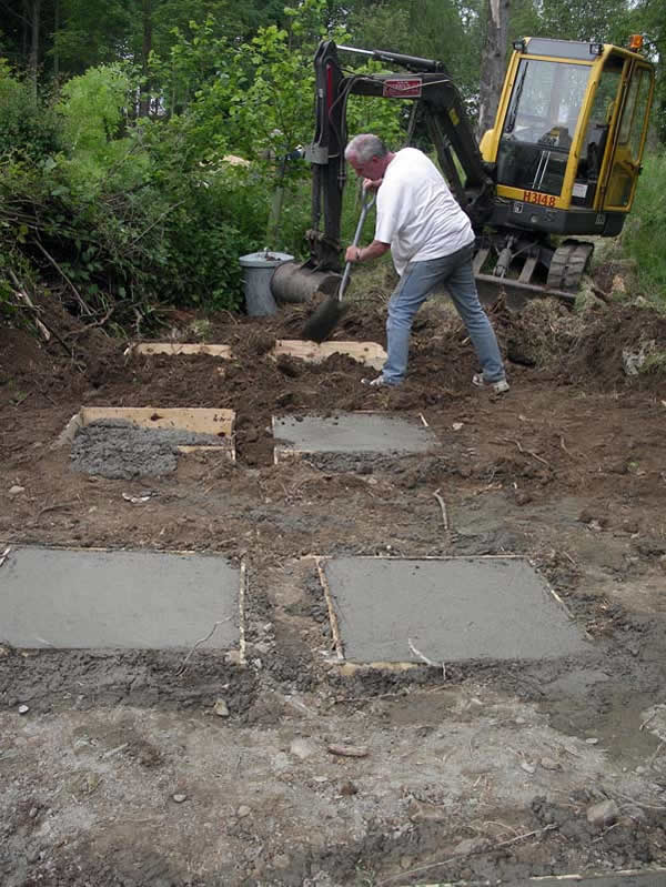 Footings for the hide