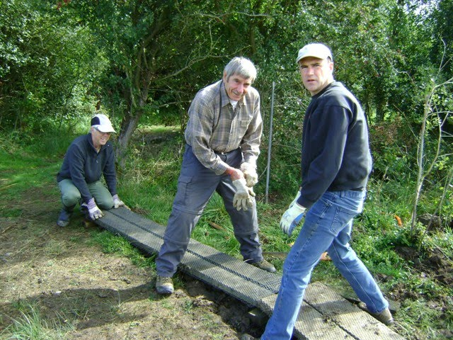 Volunteers working on the boardwalk