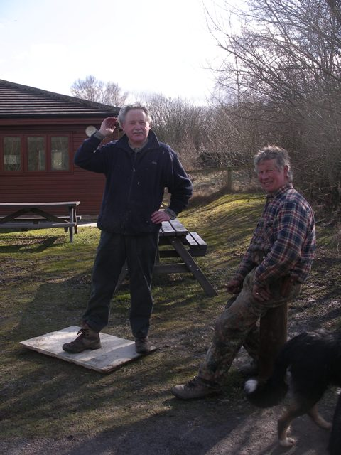 Tony testing the new stone for the moorland trail