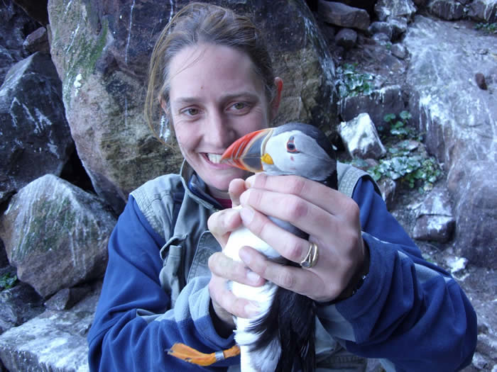 Sophie with a puffin