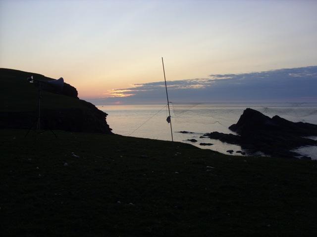 Mist net on cliff edge at Cape Wrath