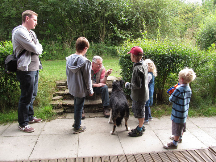 Bird ringing being explained to the children