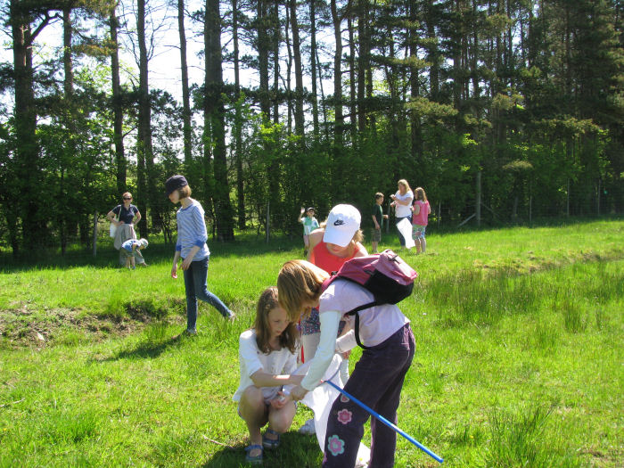 Eco Club children sweep netting
