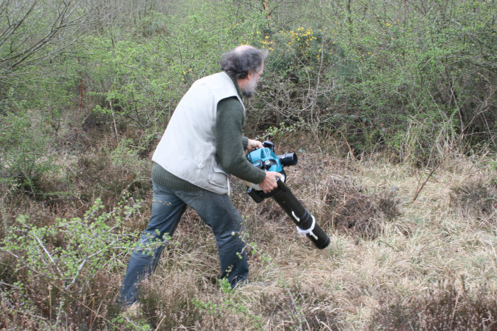 Dr Key hoovering inssects from the heather