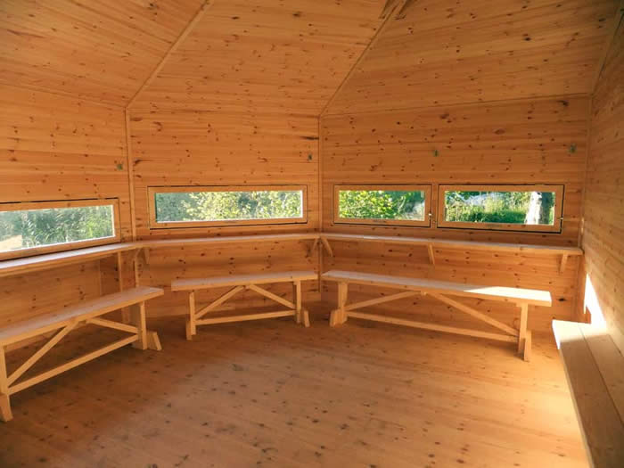 Inside the new hide