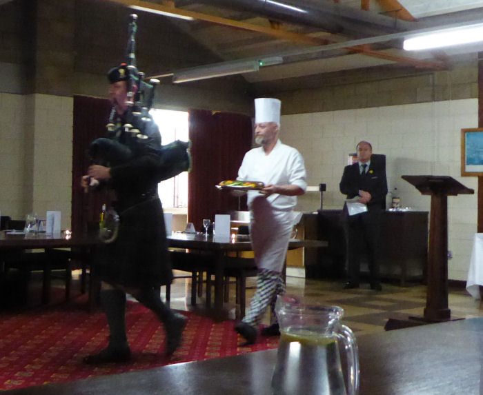 The Haggis being piped in